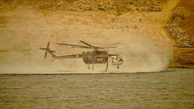 French Fire Helicopter support, dipping from Lake Isabella