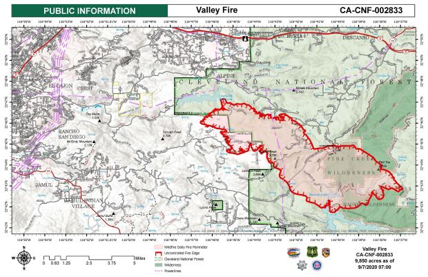 Information Map for Valley Fire