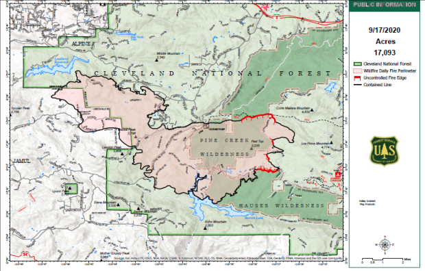 Public Information Map showing fire perimeter and containment