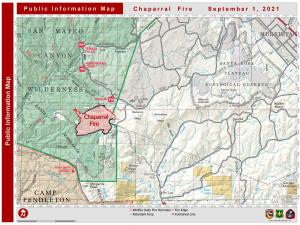 map of the fire perimeter showing uncontained fireine in red and contained fireline in black