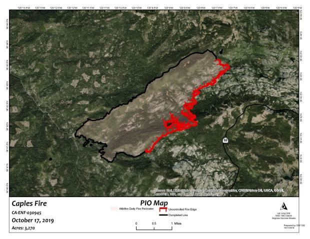Fire perimeter overlayed on aerial photo.