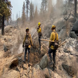 Three firefighters are turning over vegetation and rocks to reveal smoking hotspots that one firefighter is spraying with water.