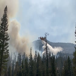 A large airplane flies over a wildfire dropping gallons of water.