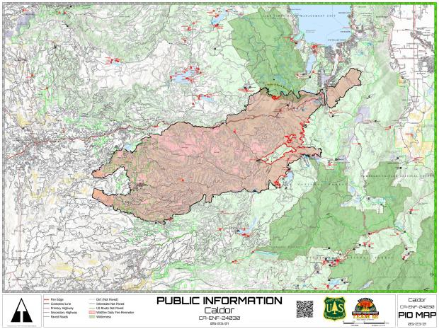 Map of the fire perimeter with points of interest labeled