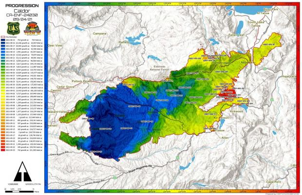 Map of the fire perimeter with daily growth broken our by color