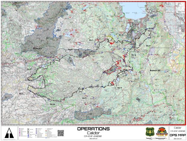 Map of the fire perimeter with branches and divisions