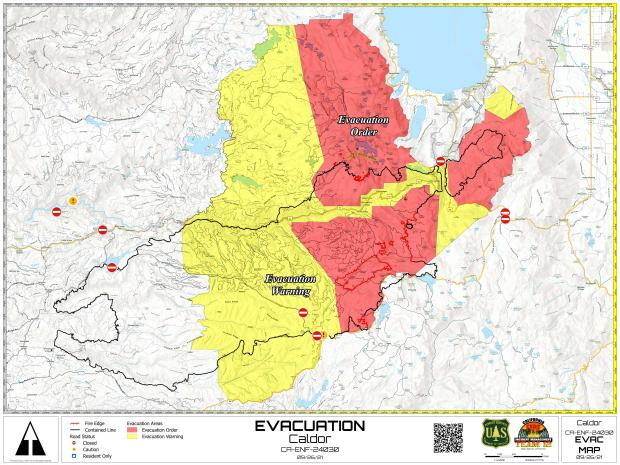 Map of current evacuation orders and warning indicated by color