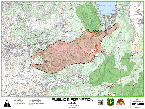 This map shows the fire perimeter of the Caldor Fire as of September 26, 2021