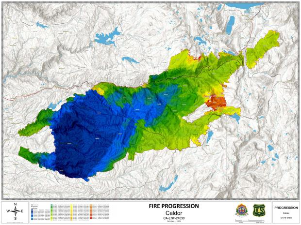 This map shows the growth of the fire over time with blue indicating older areas burned, and red indicating more recent fire growth