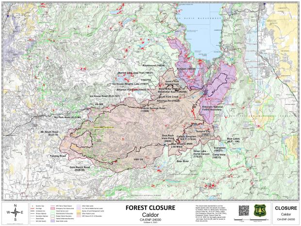 Map of local forest closures due to the Caldor fire
