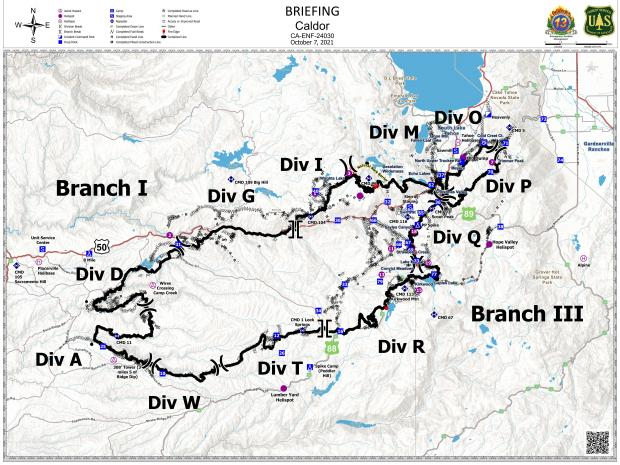 This map shows the branches and division breaks on the Caldor Fire