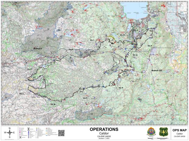 This map shows the operational details of the Caldor Fire