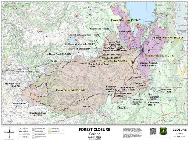 This map shows the organizational divisions of the Caldor Fire