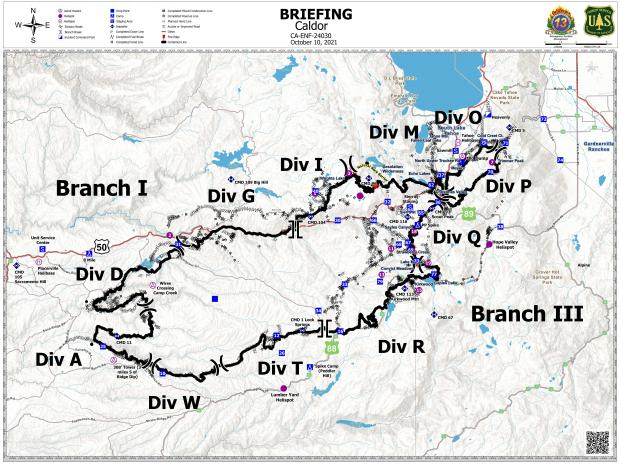 This map shows the division and branch breaks for the Caldor Fire