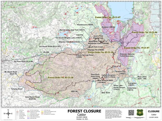 This map shows the locations of several forest closures or forest restrictions on the Eldorado National Forest and the Lake Tahoe Basin Management Unit