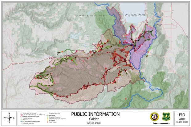 This map shows the work completed and still needed for suppression repair activities. Additionally it highlights closures on both the ELNF and the LTBMU.
