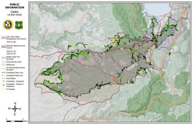 Public Information Map of Caldor Fire with  Forest Closure information.