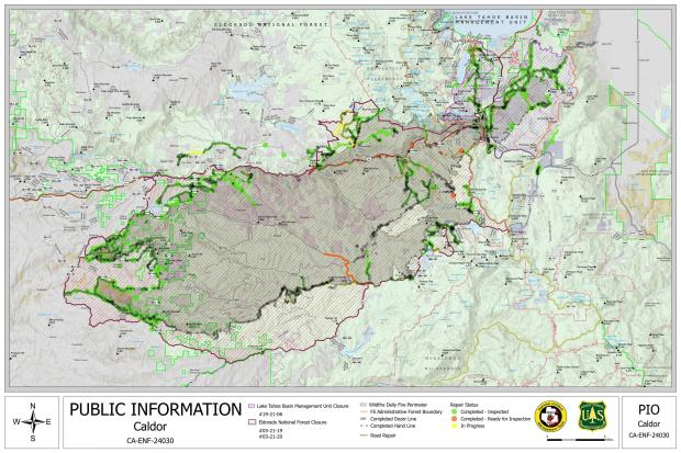 Caldor Fire Information and Repair map for 10/18/2021.