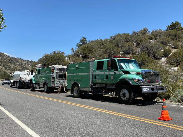 Forest Service Engines from the Cleveland and San Bernardino National Forests work on the Iris Fire on the Inyo National Forest