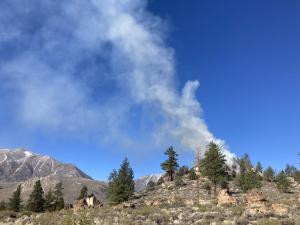 Smoke from a 75-acre burn unit part of a prescribed fire project on the Inyo National Forest, May 4, 2021.