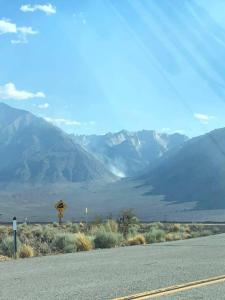 View of the smoke rising near Pine Creek on the Inyo National Forest.