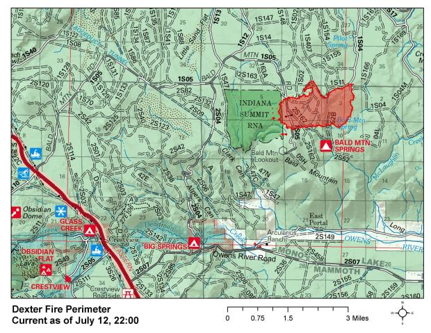 This map shows the perimeter of the Dexter Fire