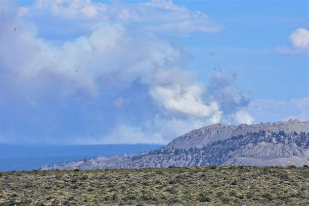 smoke seen from the Mono Lake Visitor Center