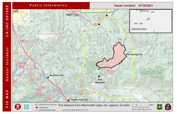 map showing fire perimeter and containment