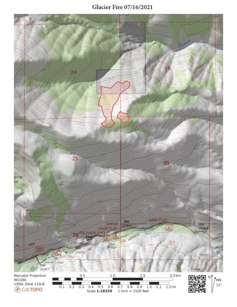 This map shows the perimeter of the Glacier Fire as of July 16, 2021.