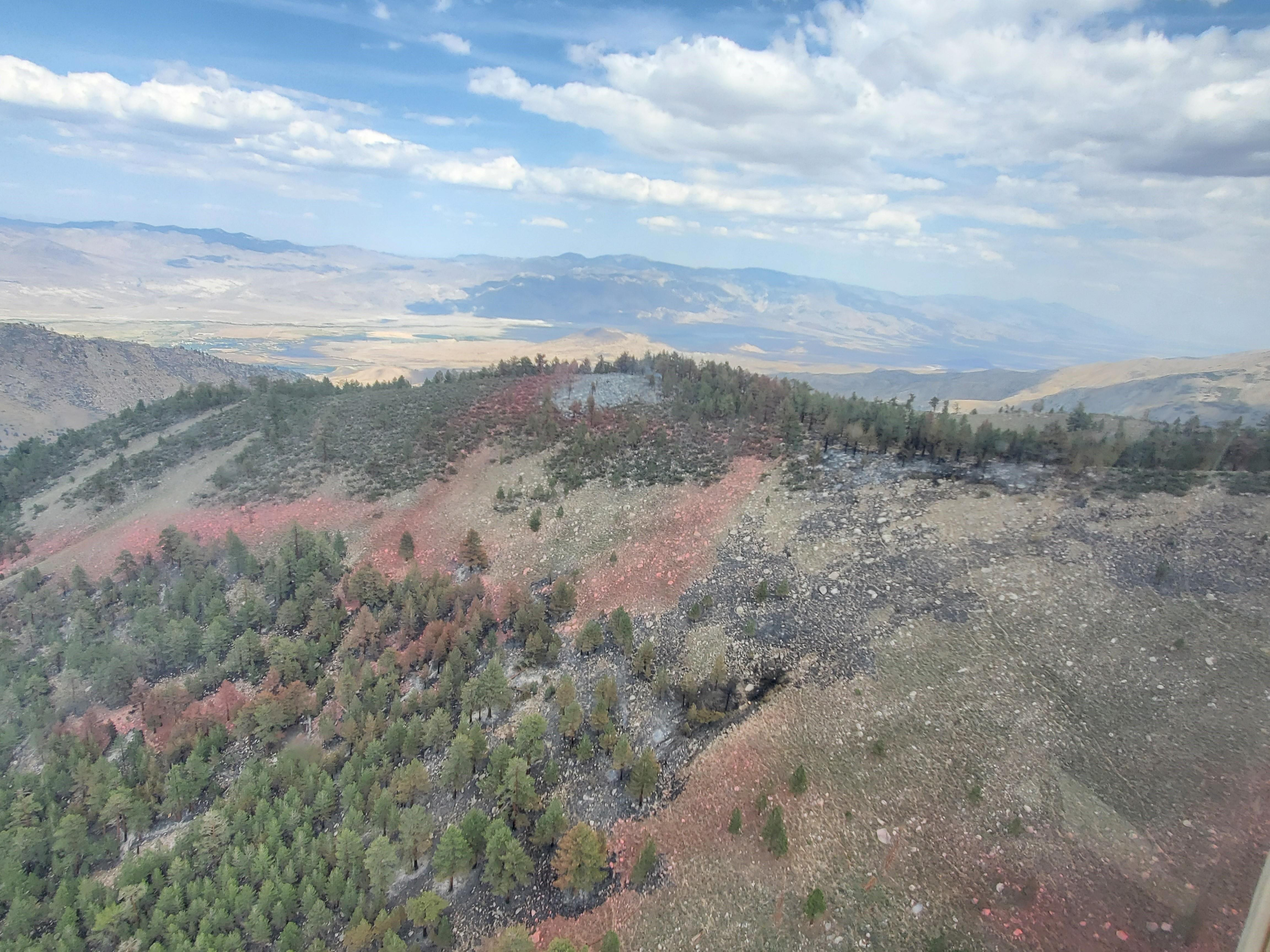 This photo taken from the air shows the ridge where the Glacier Fire is burning.