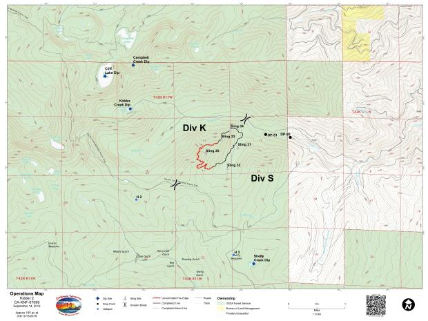 Lime Fire Operations Map for September 14, 2019