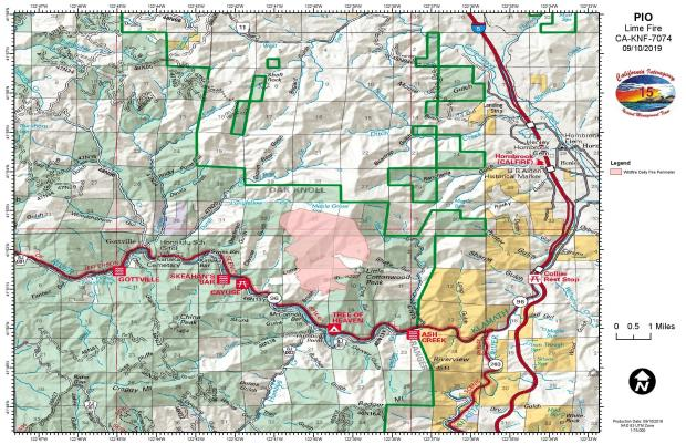 Lime Fire Public Information Map for Sept. 9, 2019