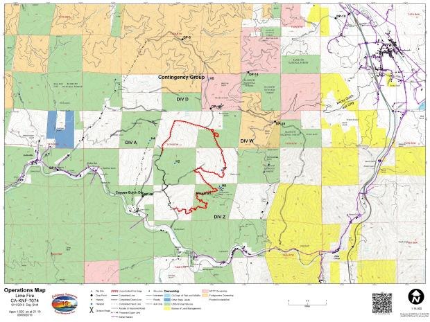Lime Fire Operations Map for 09.11.2019