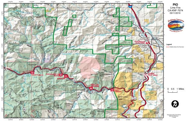 Lime FIre Public Information Map for 09.11.2019