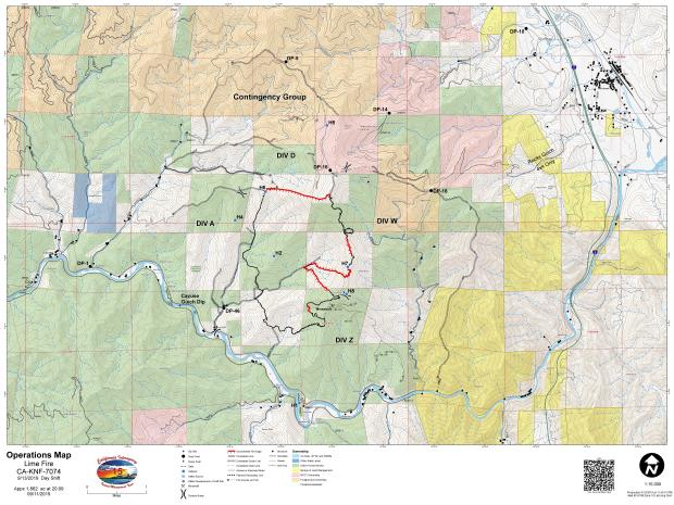 Lime Fire Operations Map for September 13, 2019