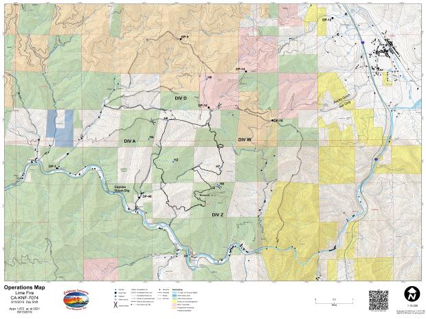 Lime Fire Operations Map for September 15, 2019