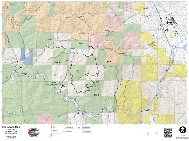 Lime Fire Operations Map for September 17, 2019