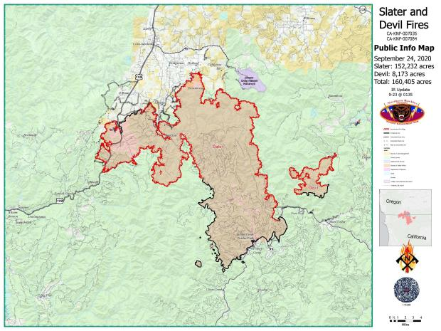 Slater and Devil Fires Public Map 9/24/20