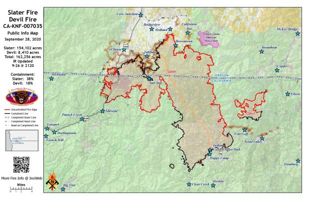 Slater and Devil Fires Public Info Map 9/28/20