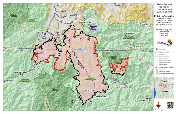 Slater and Devil Fires Public Map 10-6-20