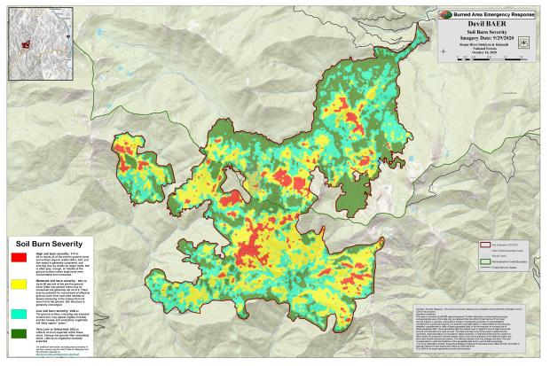 JPG Image showing Devil Post-Fire BAER Soil Burn Severity Map
