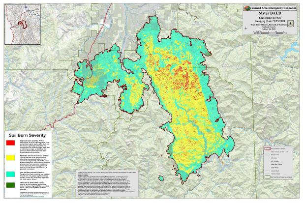 JPG Image showing Slater Post-Fire BAER Soil Burn Severity Map