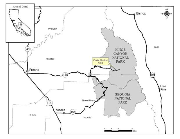 Large scale map showing the vicinity of the Cedar Central Prescribed Burn.