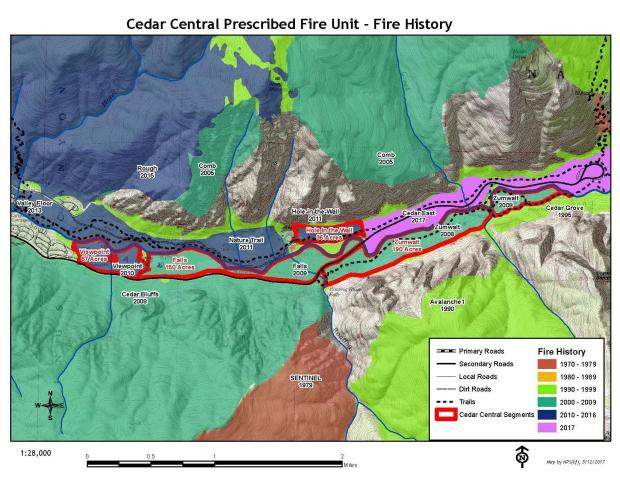 A map showing the complex fire history of Cedar Grove, Kings Canyon NP.