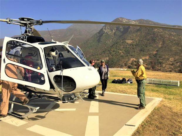 Mrs. Gomez and Helitack team land at Helibase