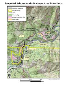 Map showing the various locations and units of the Ash Mountain Prescribed Burn