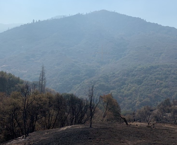 A steep mountain is shrouded in smoke with blackened ground