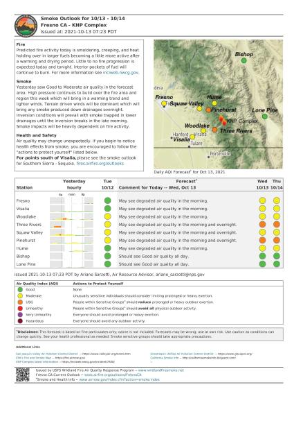 This is a photo of a document containing a map in one corner, text updating region of smoke quality and a color-coded chart for overall air quality