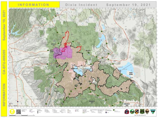 Dixie Fire Public Information Map for September 19, 2021