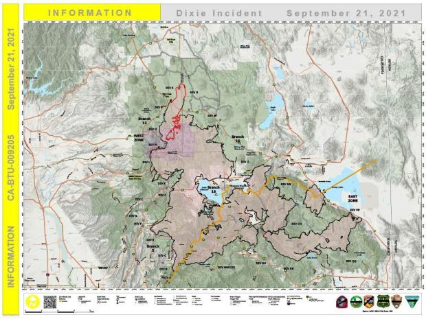 Dixie Fire PIO Map for Sept. 21, 2021